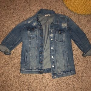 madewell oversized distressed jean jacket